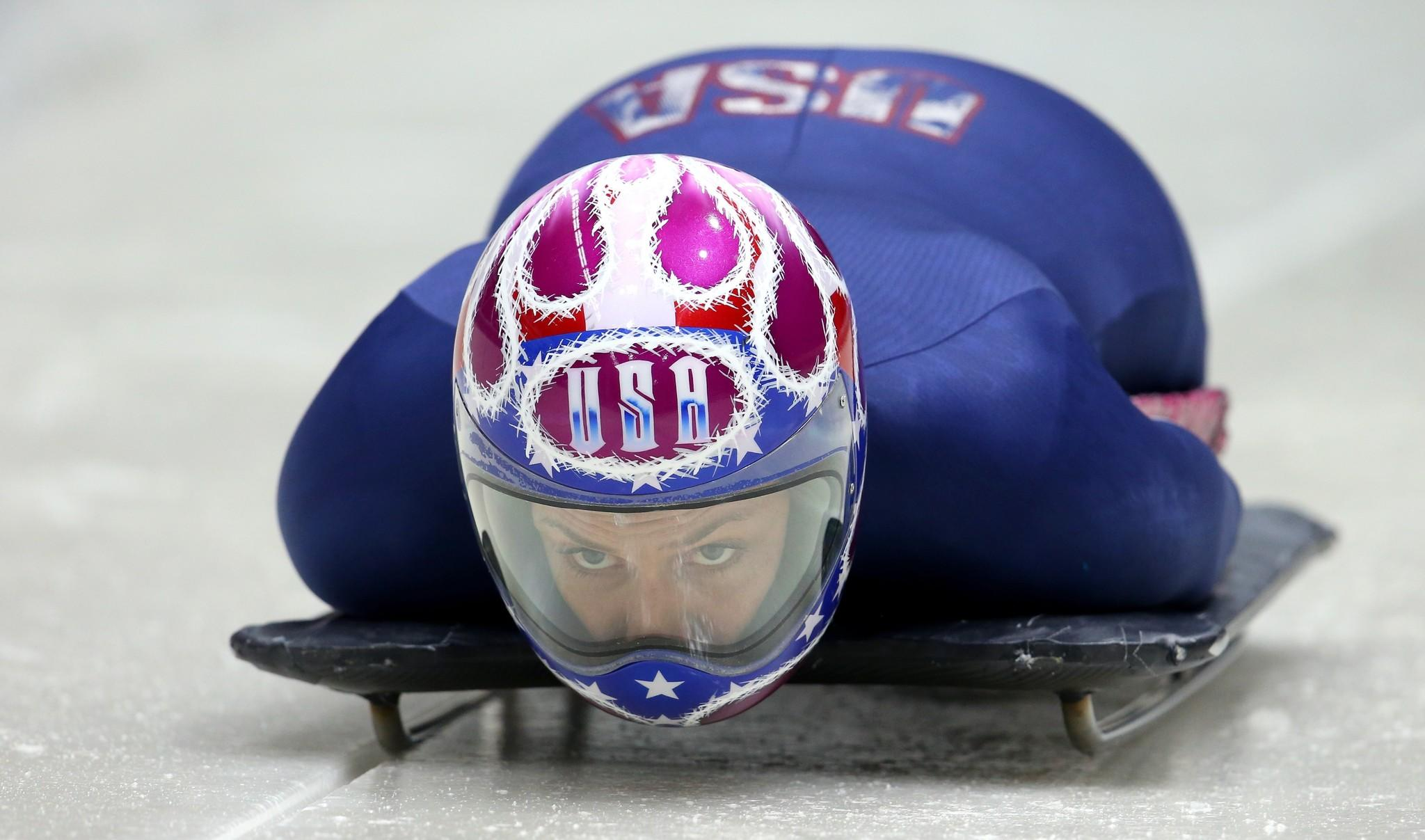 Noelle Pikus-Pace makes a practice skeleton run ahead of the Sochi 2014 Winter Olympics at the Sanki Sliding Center. (Alex Livesey/Getty Photo)