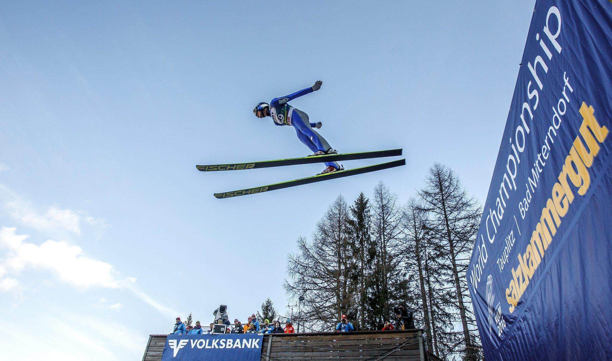 Gregor Schlierenzauer of Austria is airborne during the Ski Jumping World Cup at the Kulm, Bad Mitterndorf, Austria. (Erwin Scheriau/EPA Photo)