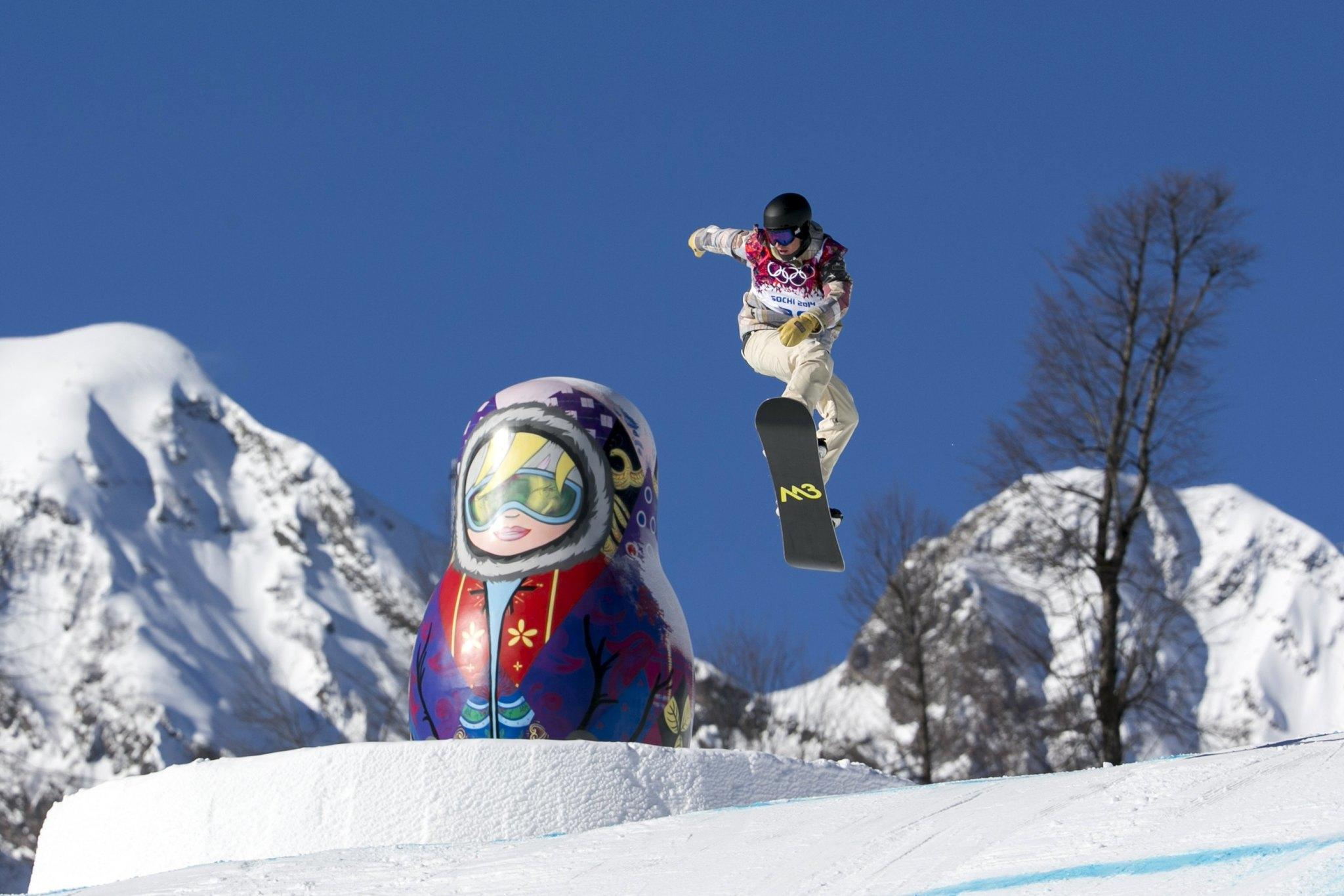 Chas Guldemond goes off a jump during snowboard slopestyle training in Rosa Khutor. (Lucas Jackson/Reuters Photo)