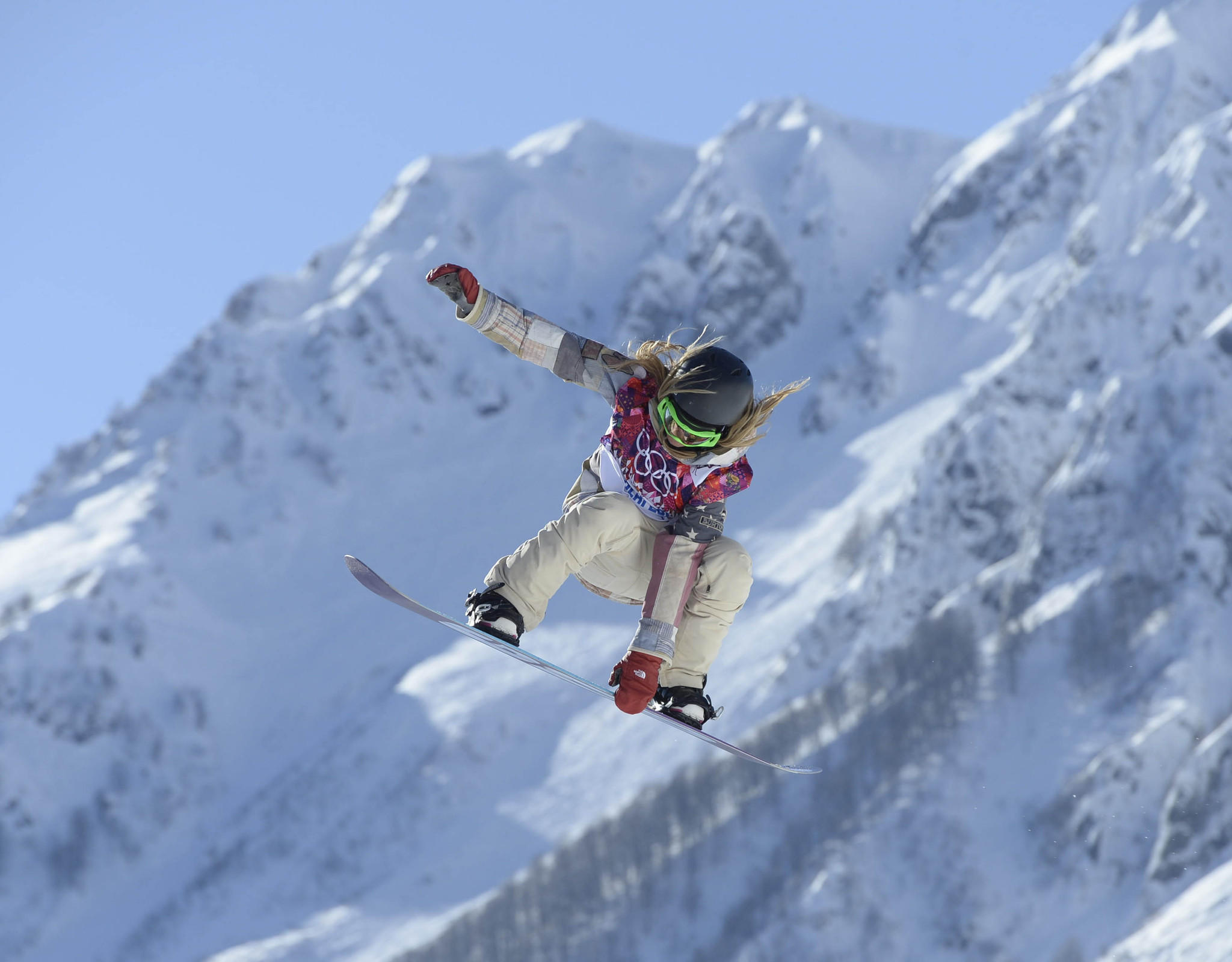 Jamie Anderson on the hill at the second jump during a training session at Extreme Park. (Jack Gruber/USA TODAY Sports Photo)