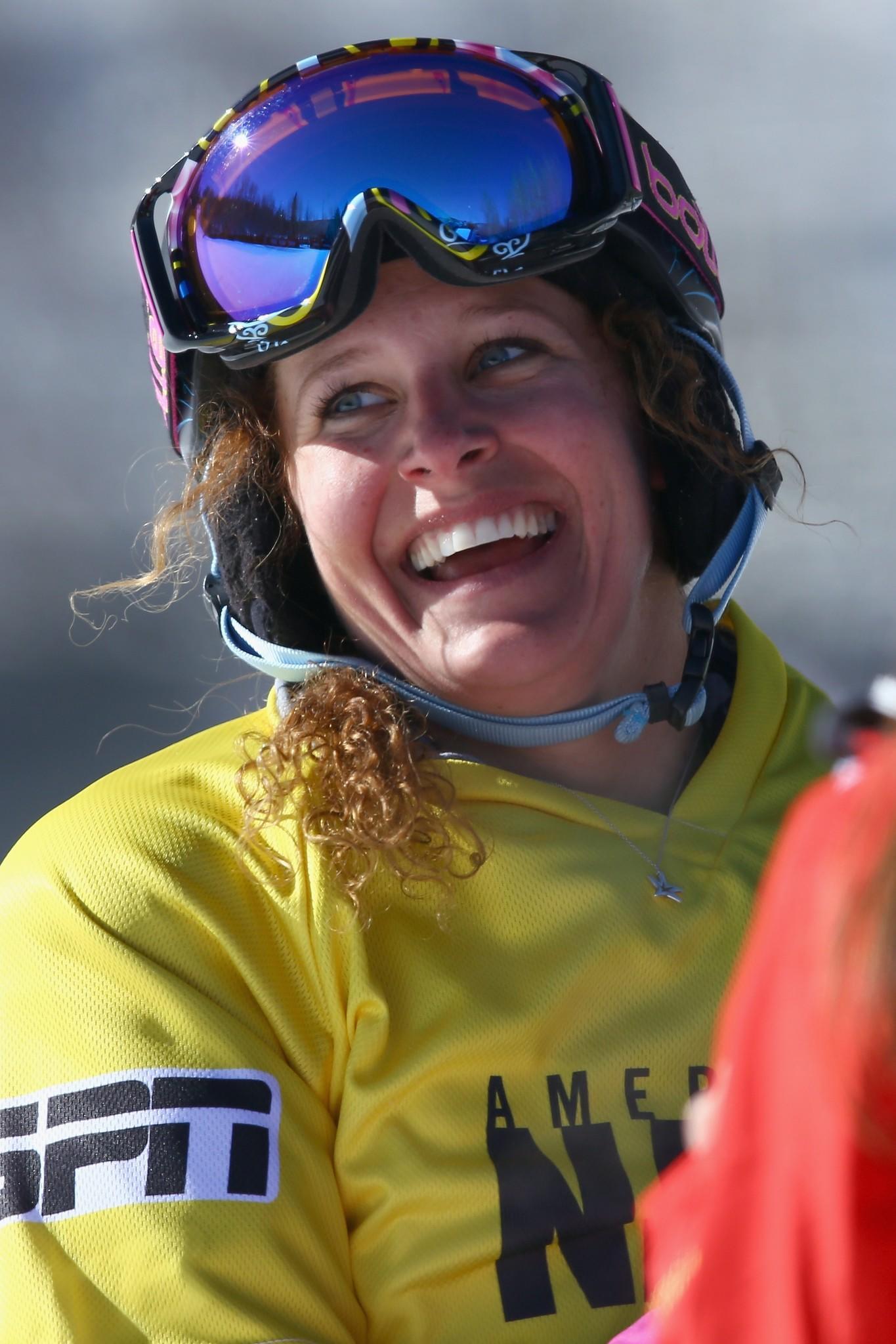 Lindsey Jacobellis celebrates after winning the women's Snowboarder X final during Winter X-Games 2014 Aspen at Buttermilk Mountain. (Doug Pensinger/Getty Photo)