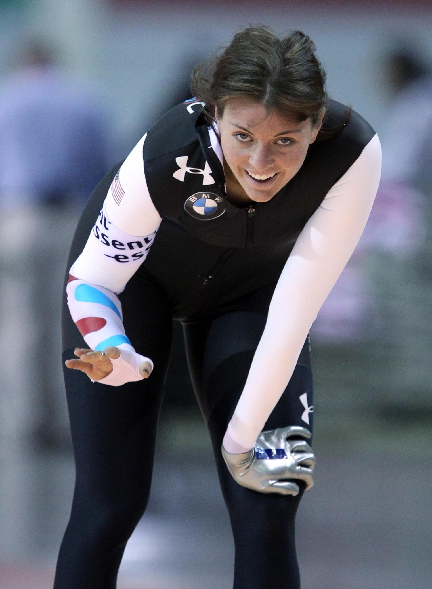 Heather Richardson smiles after completing her event. (John J. Kim/Tribune Photo)