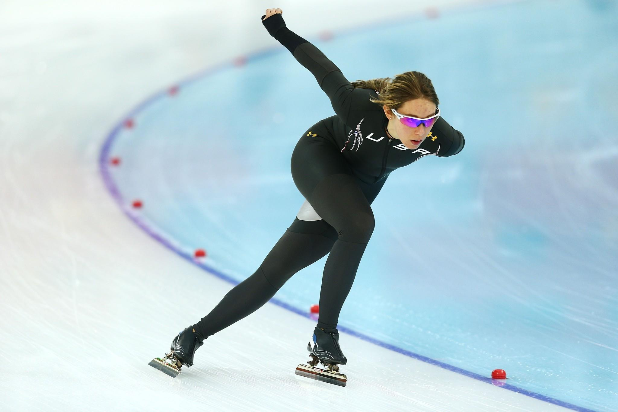 Jilleanne Rookard skates during a training session prior to the Sochi 2014 Winter Olympics at the Adler Arena Skating Center. (Clive Mason/Getty Photo)
