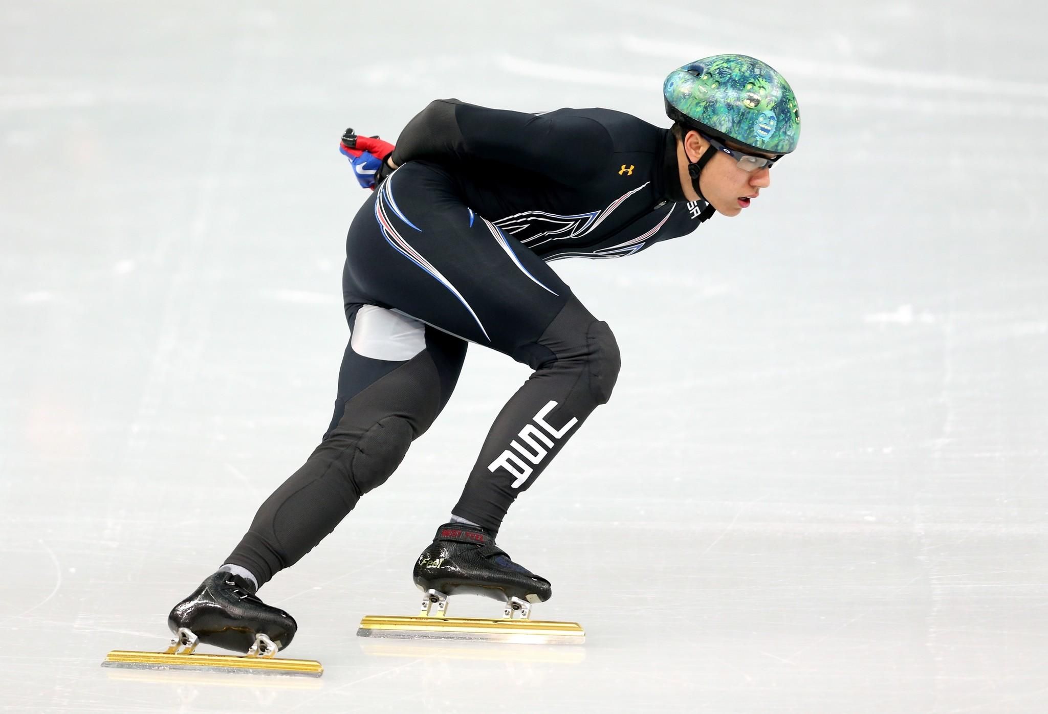 J.R. Celski practices at the Iceberg Skating Palace. (Matthew Stockman/Getty Photo)