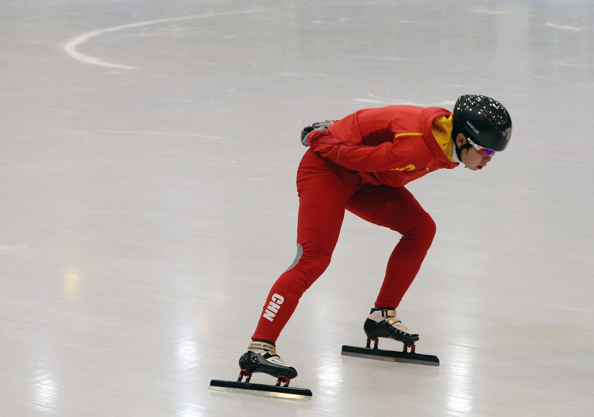 Chinese short-track speedskater Wang Meng during a practice session in Beijing. (Mark Ralston/Getty Photo)