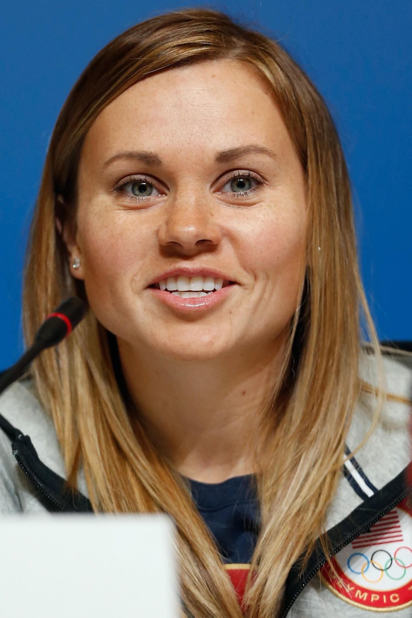 Jessica Smith attends a short-track press conference ahead of the Olympics at the Main Press Centre in Sochi. (Matthew Stockman/Getty Photo)