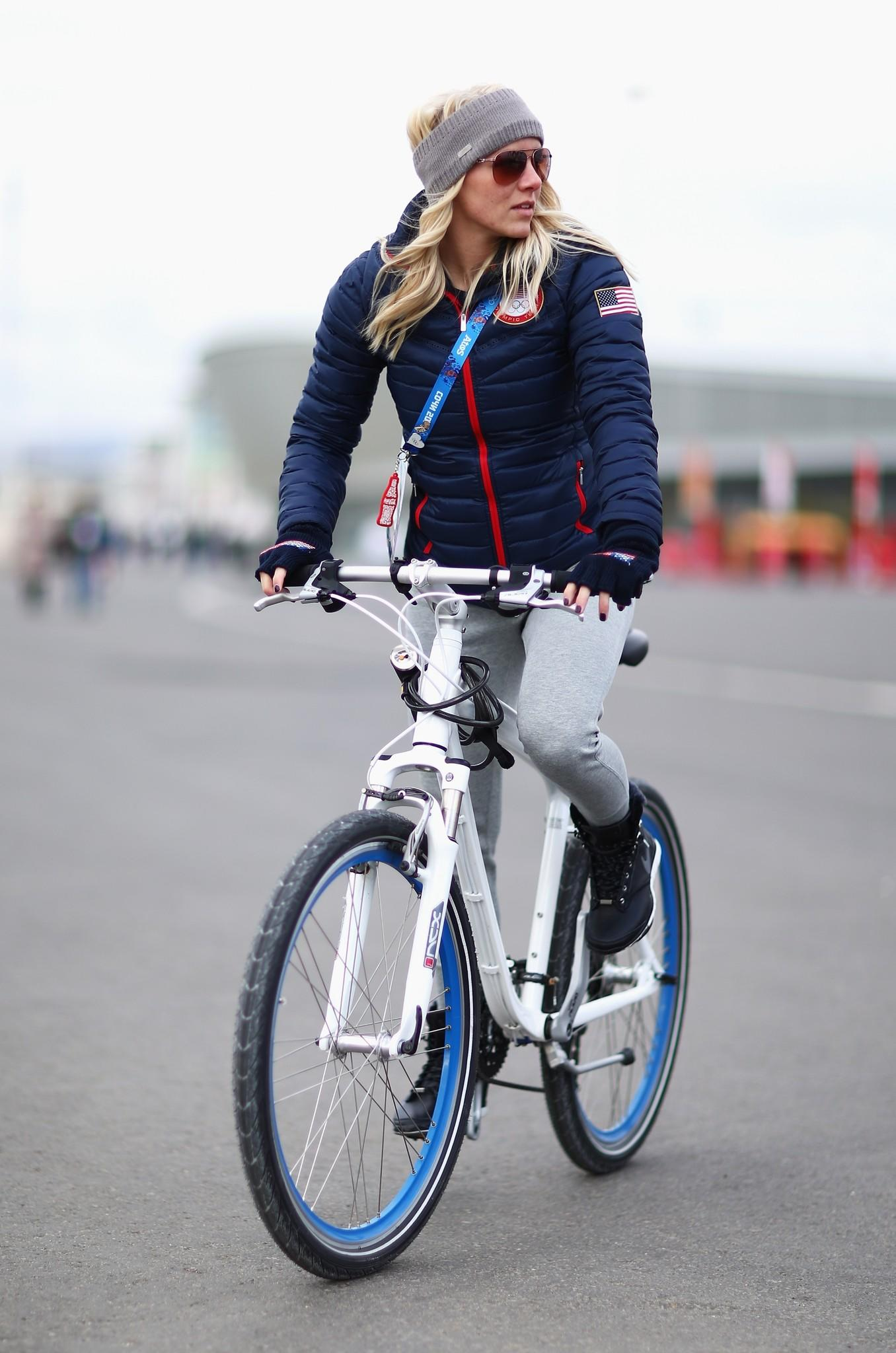 Emily Scott rides a bike at the Olympic Park in Sochi. (Clive Mason/Getty Photo)