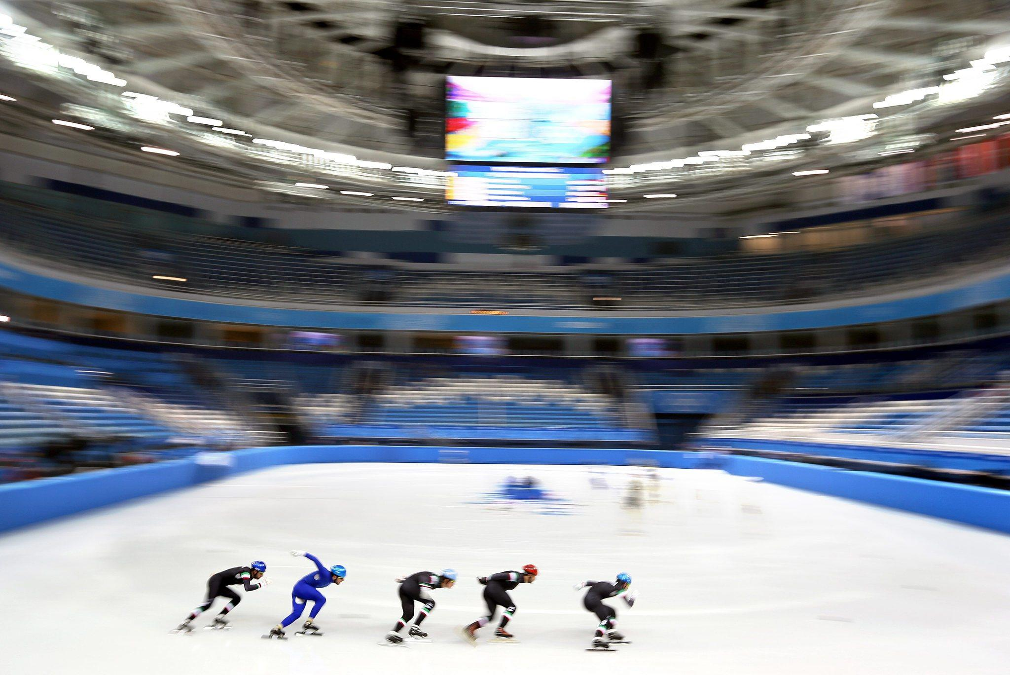 Short-track prep at the Iceberg Skating Palace in Sochi. (Tatyana Zenkovich/EPA Photo)