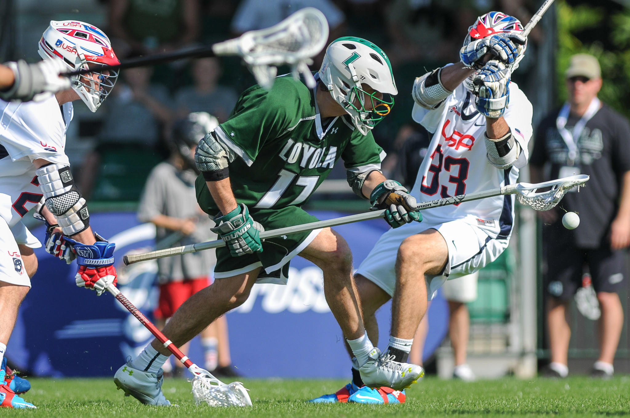 Loyola defenseman Joe Fletcher, center, on the U.S. men's national team's 30-man roster for the Federation of International Lacrosse World Championship.