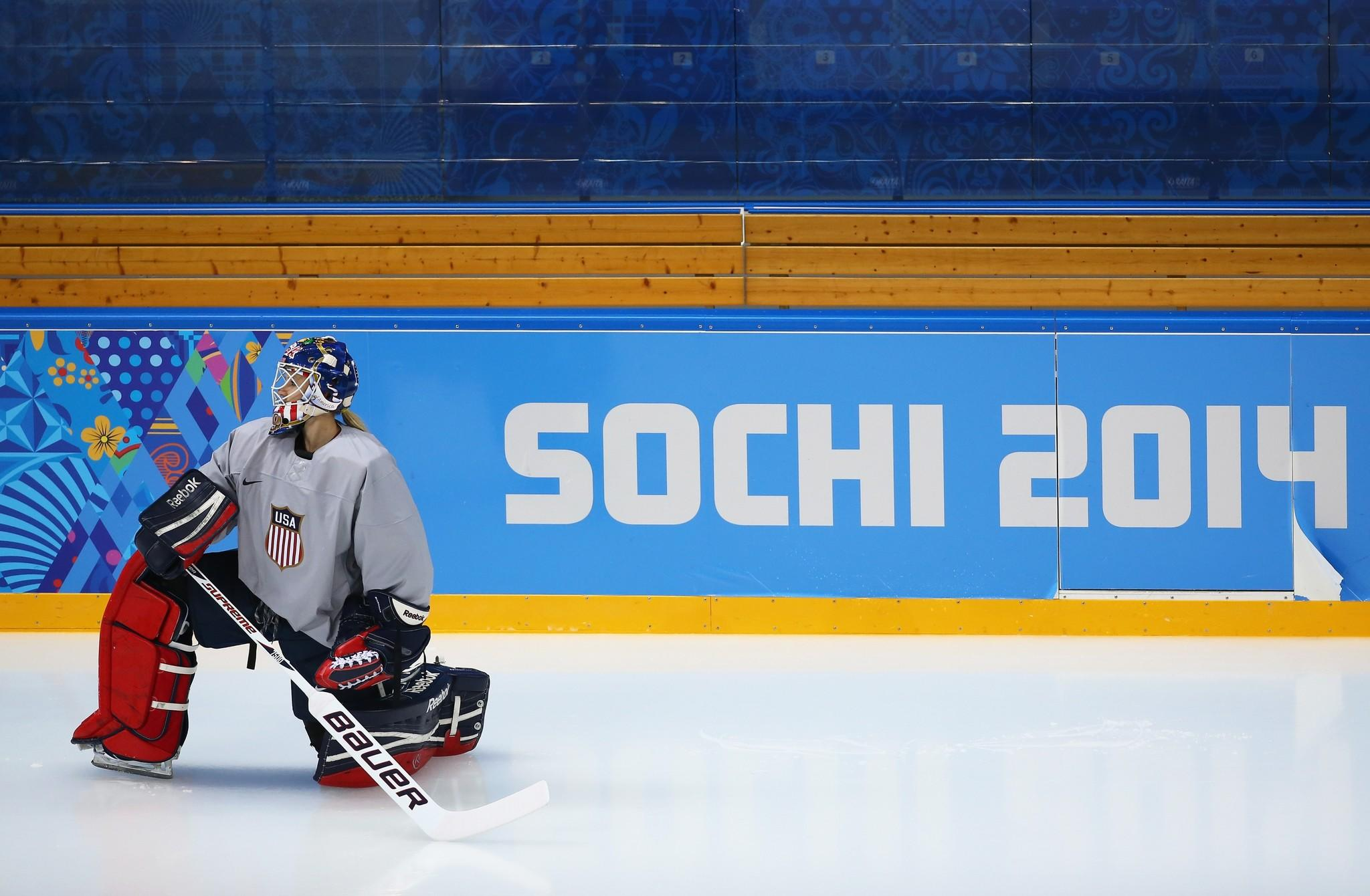Goaltender Jessie Vetter of United states warms up during a training session ahead of the Sochi 2014 Winter Olympics at Shayba Arena.