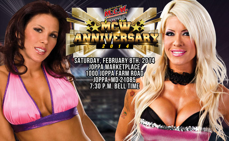 Mickie James (left) wrestles Angelina Love on Saturday night.