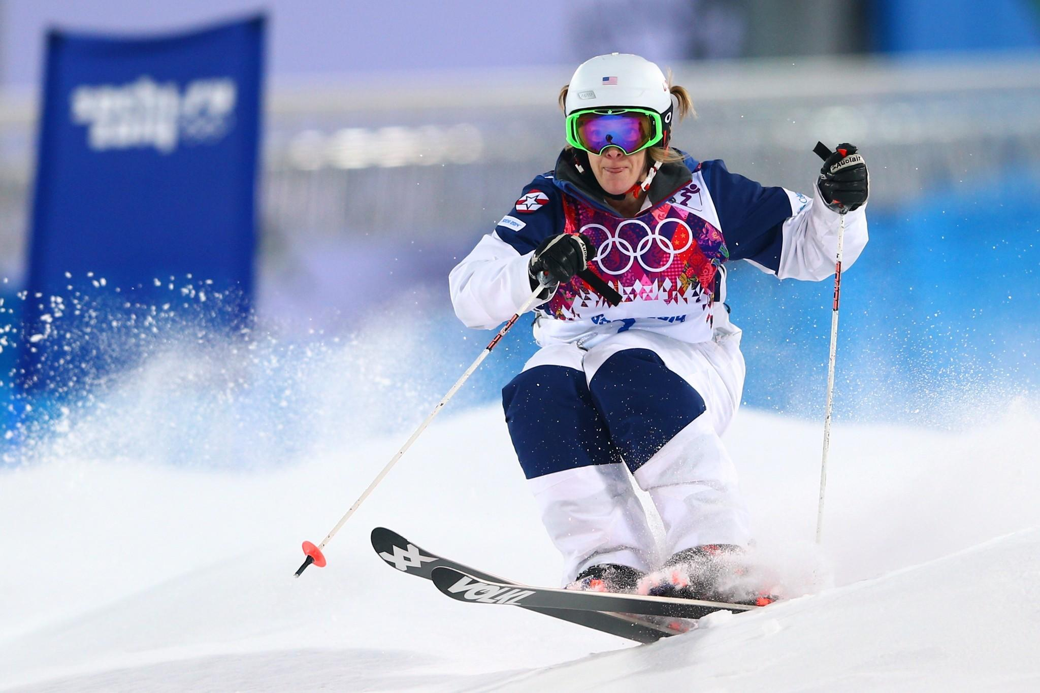Hannah Kearney of the United States competes in the Ladies' Moguls Qualification during the Sochi 2014 Winter Olympics at Rosa Khutor Extreme Park.