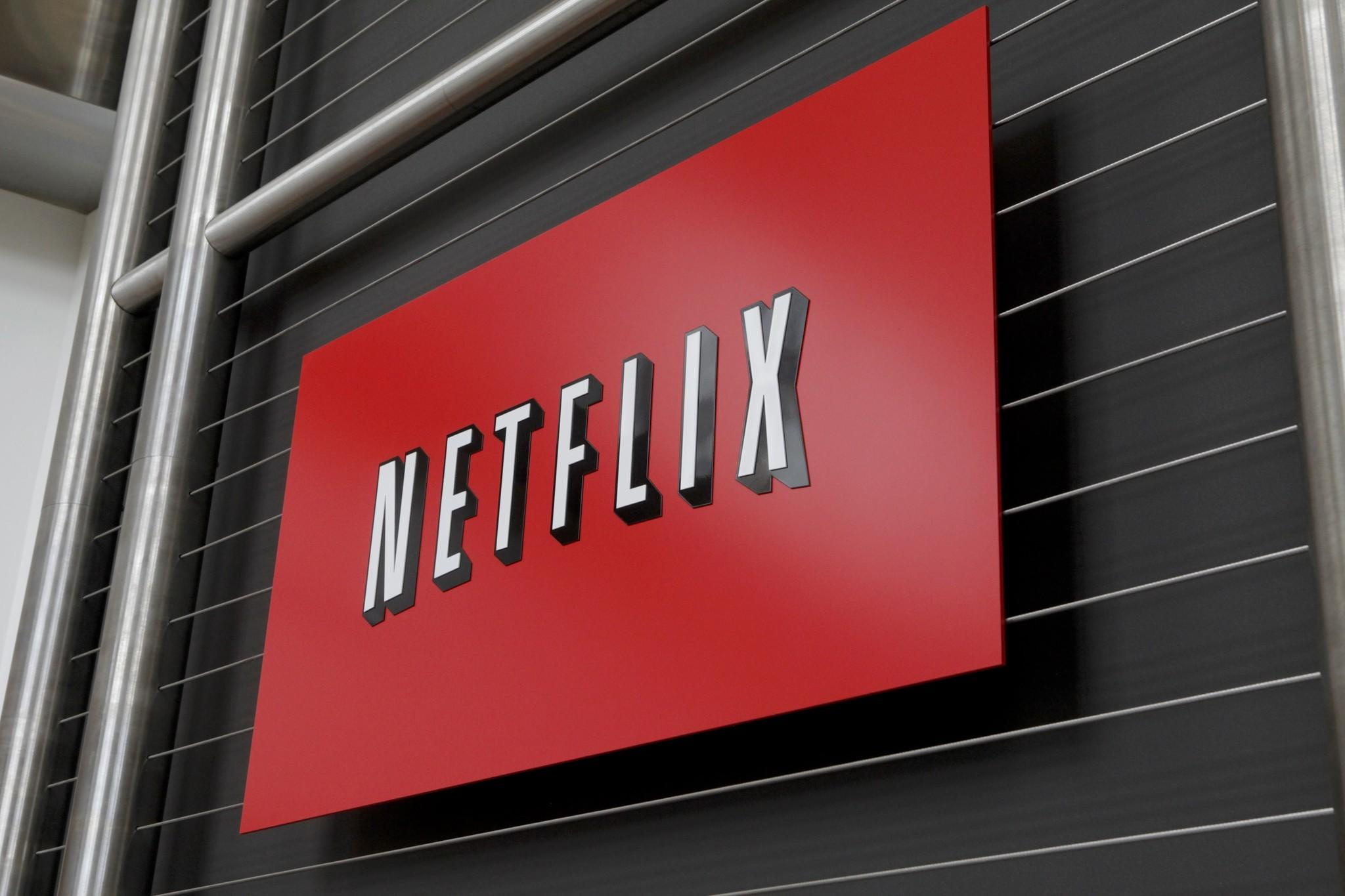 The Netflix company logo is seen at Netflix headquarters in Los Gatos, CA in 2011.