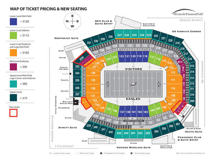 This map shows the Eagles' new ticket pricing and added seats at Lincoln Financial Field.