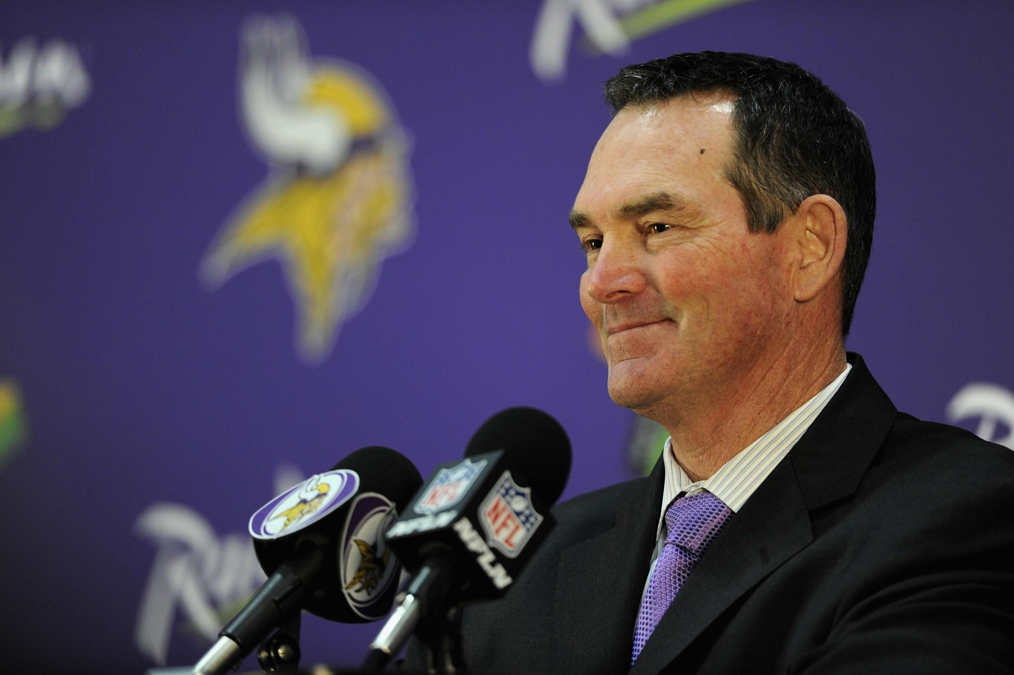 Mike Zimmer of the Minnesota Vikings speaks to the media after being introduced as the new head coach.
