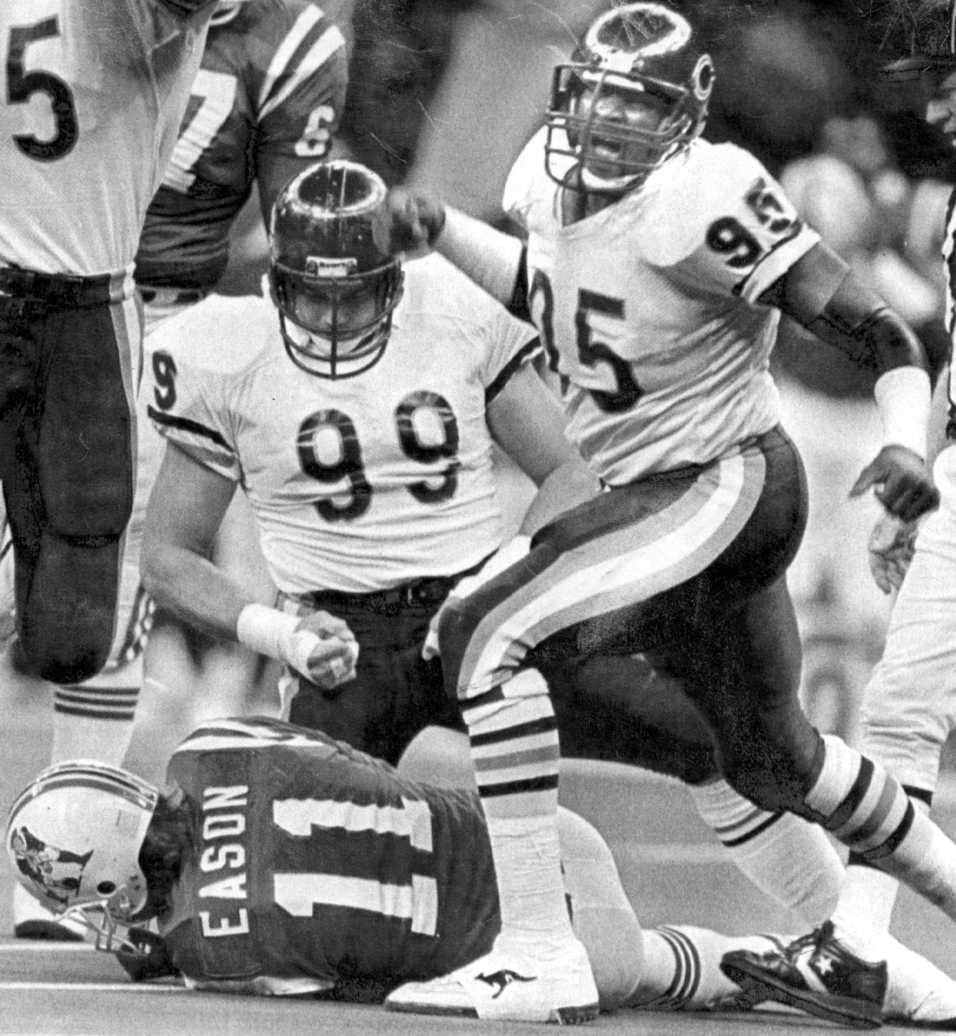 Dan Hampton and Richard Dent during Super Bowl XX.