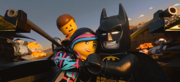 "Emmet voiced by Chris Pratt, Wyldstyle voiced by Elizabeth Banks and Batman voiced by Will Arnett, in a scene from ""The Lego Movie."""