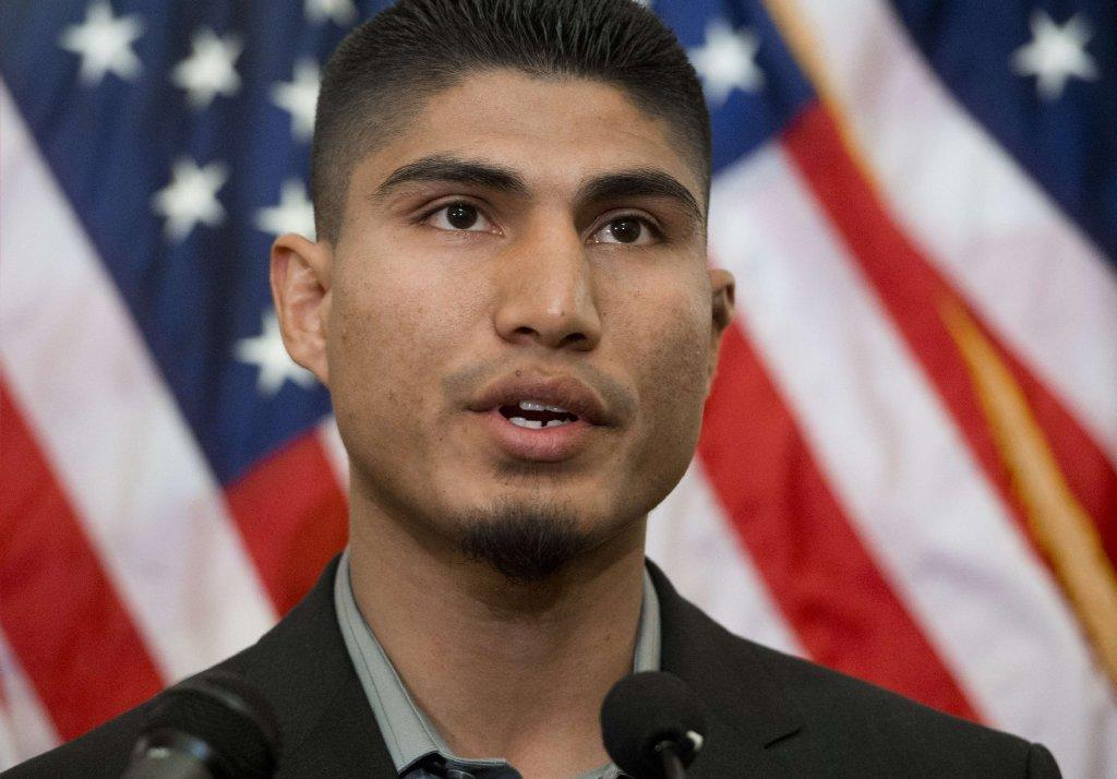 World champion boxer Mikey Garcia of Oxnard speaks at a new conference where professional boxing and fighting organizations announced they would pledge $600,000 in support of the Professional Fighters Brain Health Study at the Cleveland Clinic.