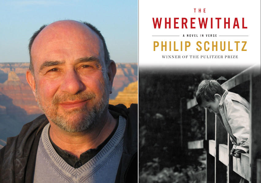 "Author Philip Schultz and the cover of his book, ""The Wherewithal."""
