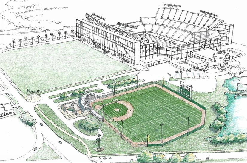 A rendering shows the proposed replacement for Tinker Field next to the renovated Florida Citrus Bowl.