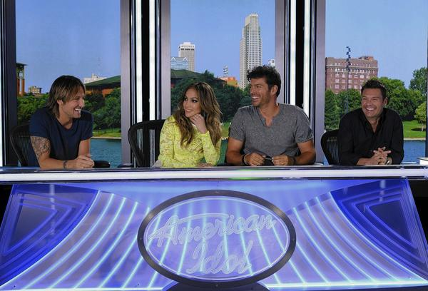 "Keith Urban, left,  Jennifer Lopez, Harry Connick, Jr. in ""American Idol"" on Fox."