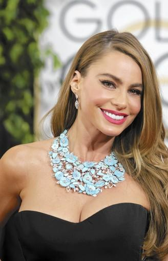 Sofia Vergara arrives for the 71st Annual Golden Globe Awards show at the Beverly Hilton Hotel on January 12, 2014.