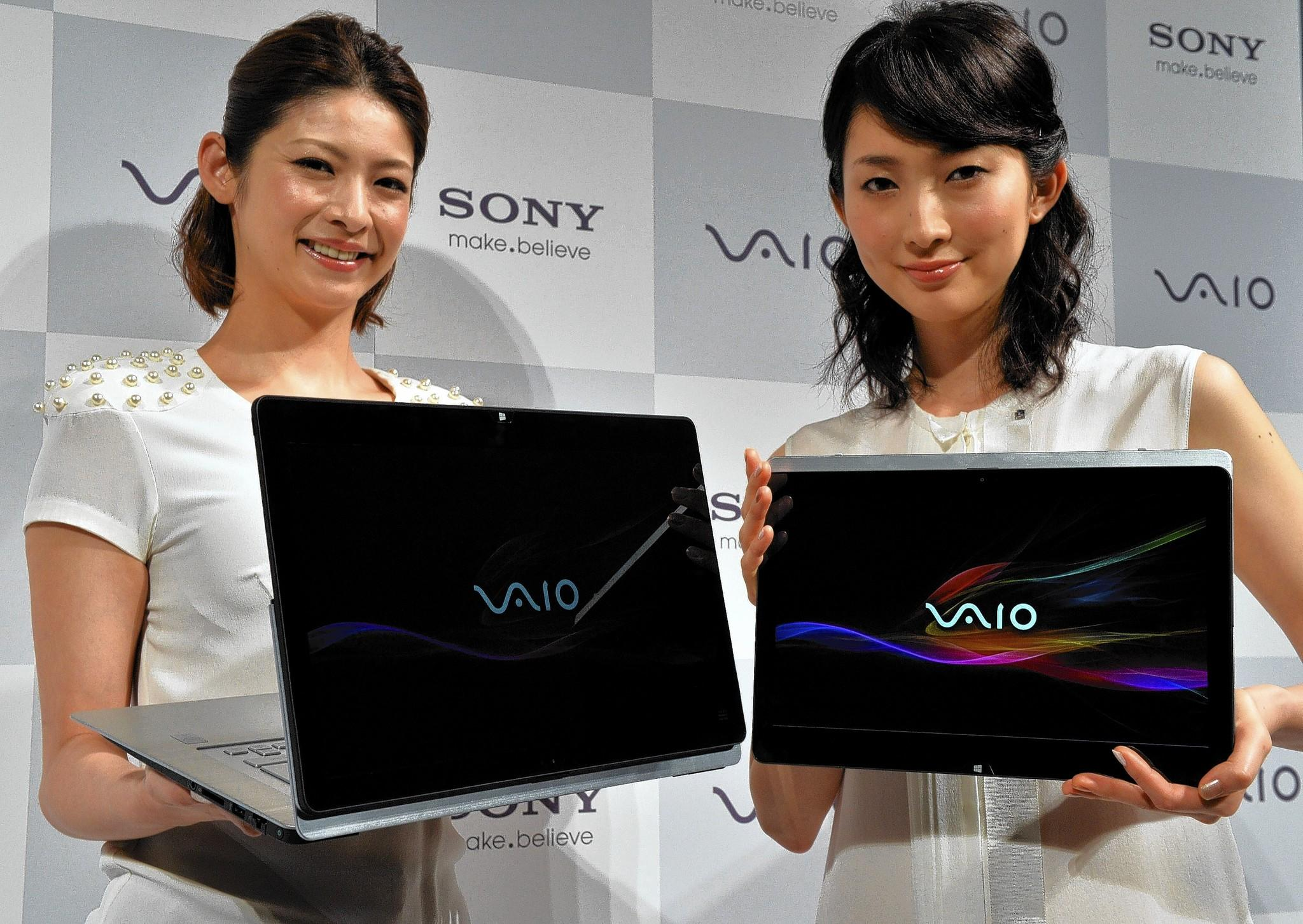 Sony is in talks to sell its Vaio personal computer division to Japan Industrial Partners Inc., a Japanese investment fund. Above, Sony shows off the Vaio Fit ultrabook.