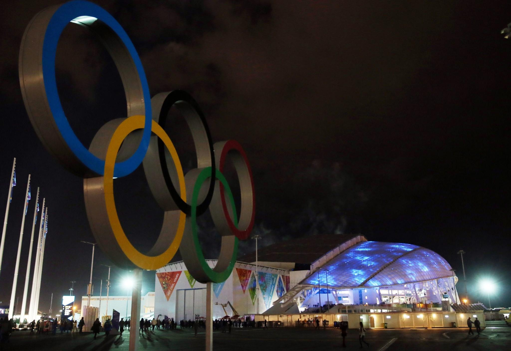 A view from outside the Fisht Olympic Stadium on Feb. 4 prior to the start of the 2014 Sochi Winter Olympics.