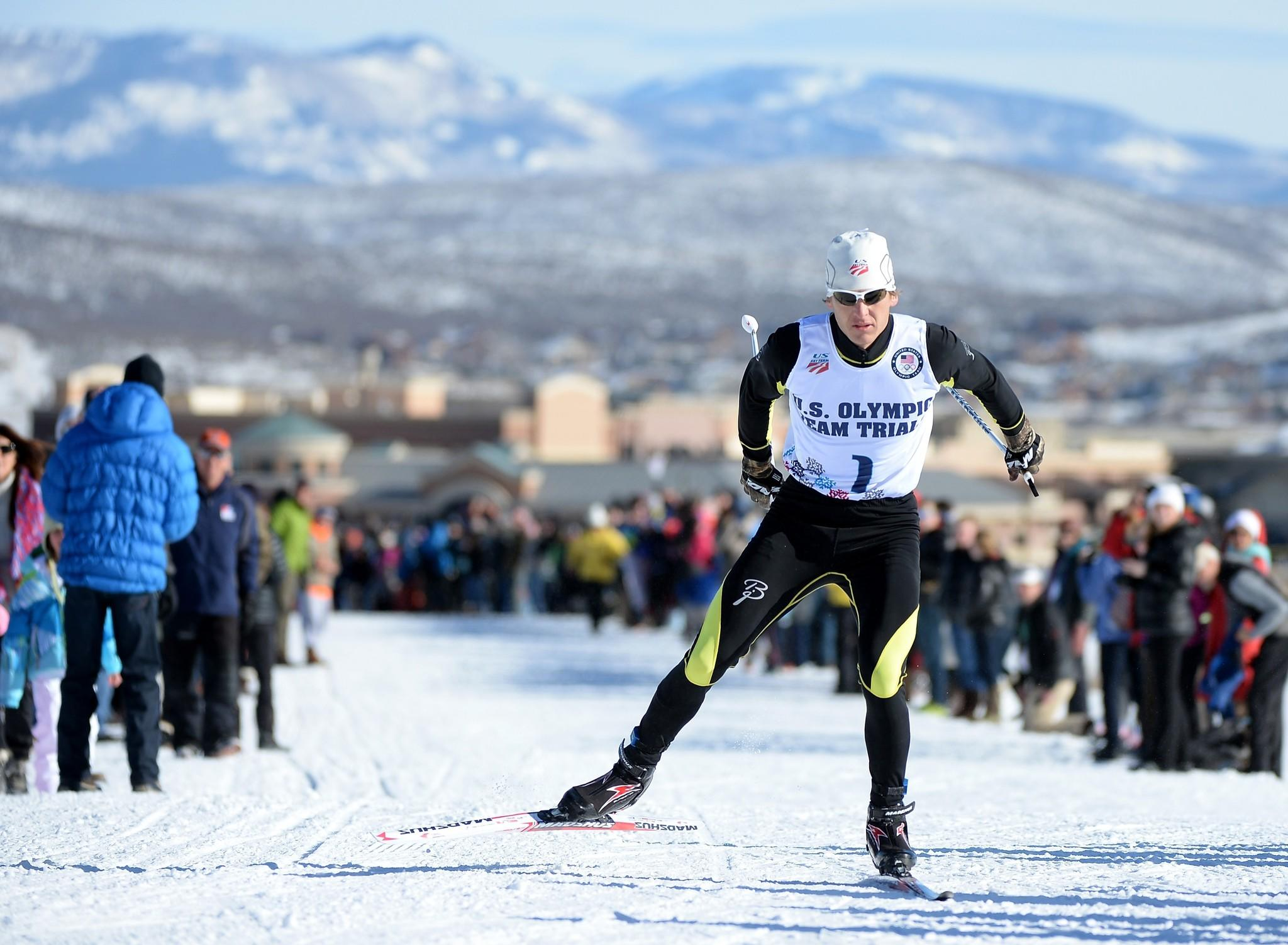 Todd Lodwick skis to a first-place finish in the 10-kilometer cross-country race during the U.S. Olympic trials in Park City, Utah.