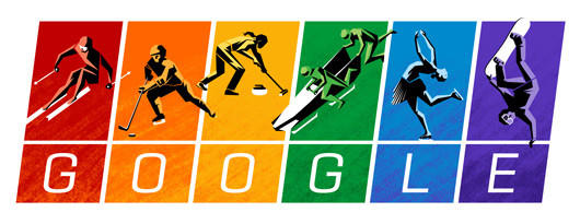 The word 'google' in gay pride colors with olympic figures