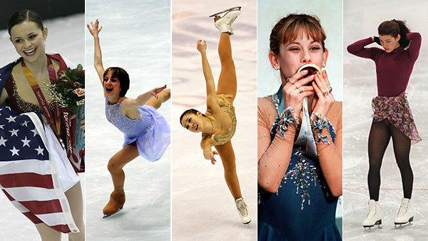Sasha Cohen, Sarah Hughes, Michelle Kwan, Tara Lipinski and Nancy Kerrigan. (Chicago Tribune and Getty photos)