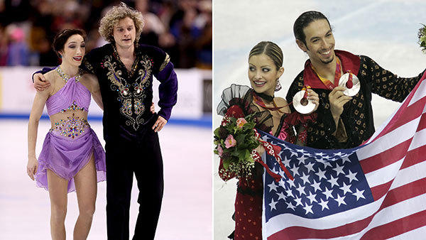 Meryl Davis and Charlie White (right), and Tanith Belbin and Ben Agosto. (Getty and Chicago Tribune photos)