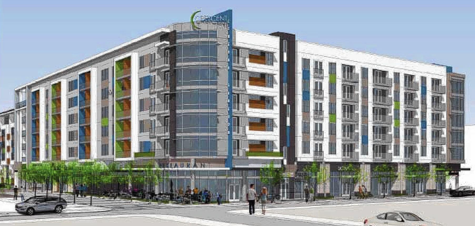 The first phase of the Crescent at Central Station includes a six-story apartment building at the corner of Orange Avenue and Amelia Street.