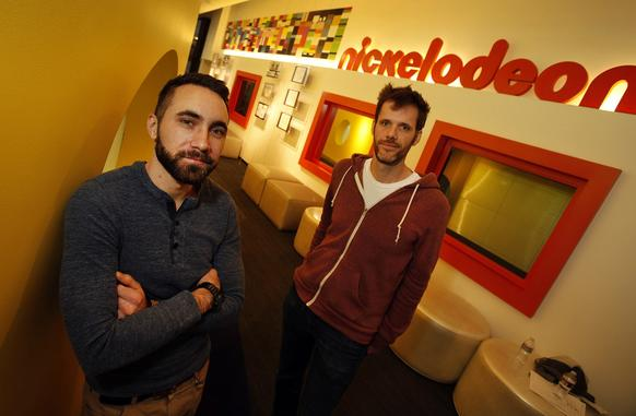 "Gary ""Doodles"" Di Raffaele, left and Steve Borst, right, created and work on the new animated comedy ""Breadwinners"" at the Nickelodeon Animation Studios in Burbank."