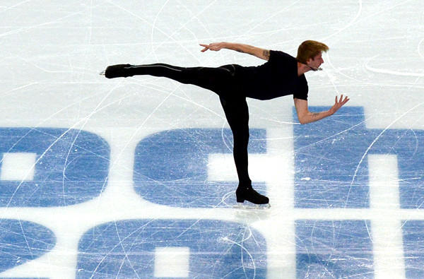 Russia's Evgeni Plushenko performs during a training session at the Iceberg Skating Palace on Wednesday.