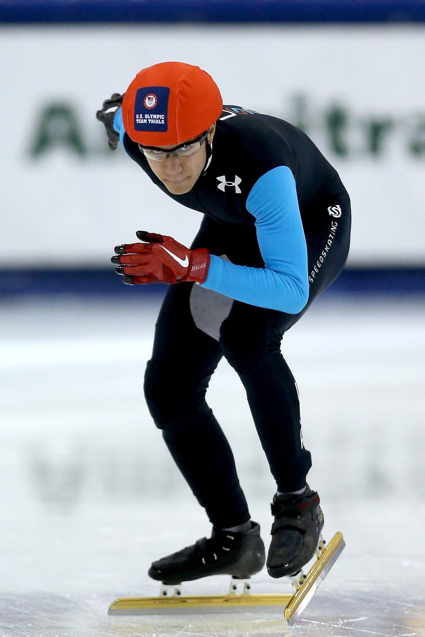 J.R. Celski readies at the start of the first men's 1,500 meter final during the U.S. Olympic Short Track Trials.