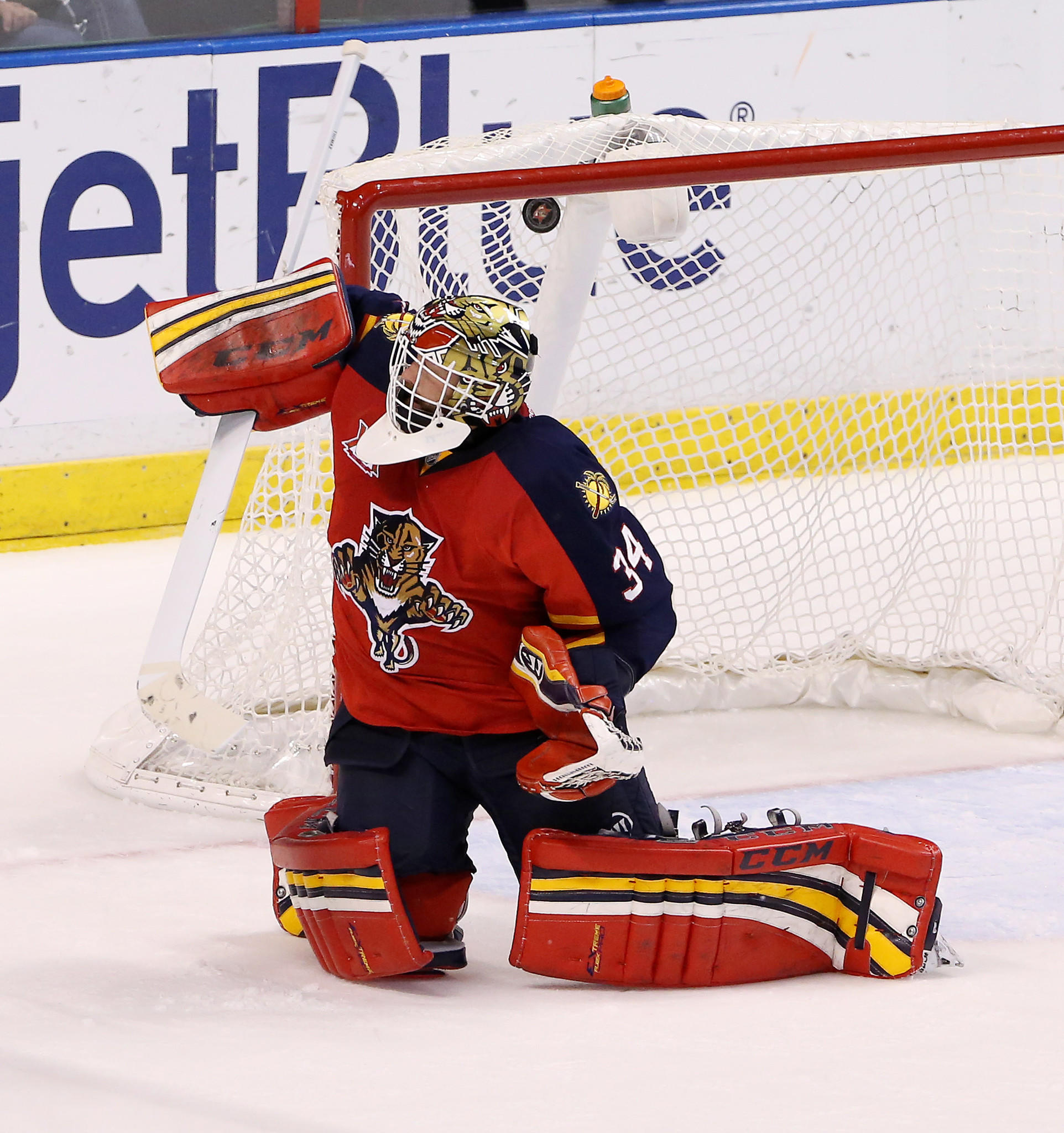 Florida Panthers goalie Tim Thomas (34) gives up a goal to Detroit Red Wings center Gustav Nyquist (not pictured) in the second period at BB&T Center.