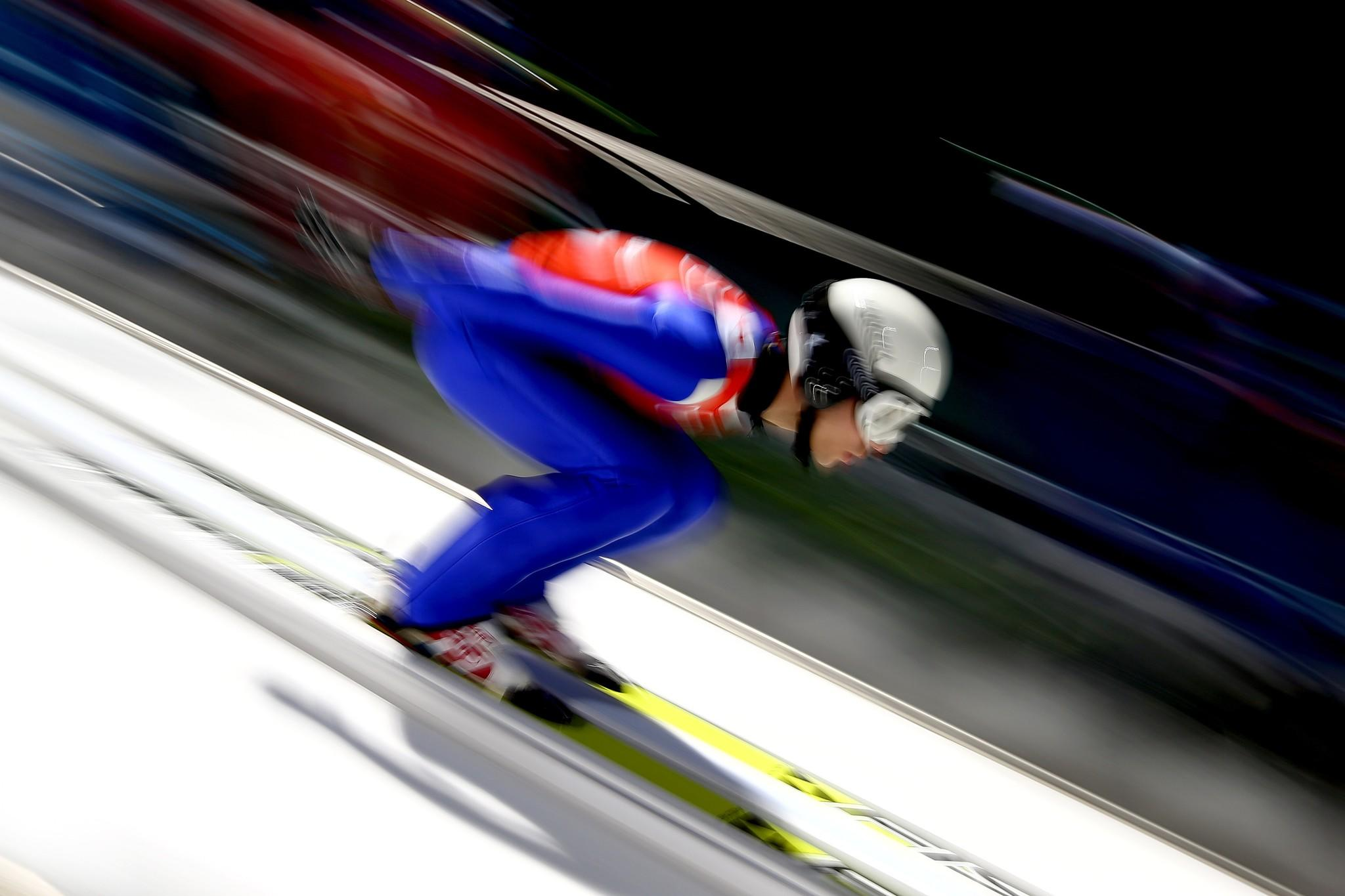 Davide Bresadola of Italy takes part in the Men's Normal Hill Individual Ski Jumping training ahead of the Sochi 2014 Winter Olympics.