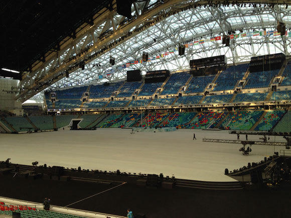 A view inside the stadium that will host the opening ceremony.