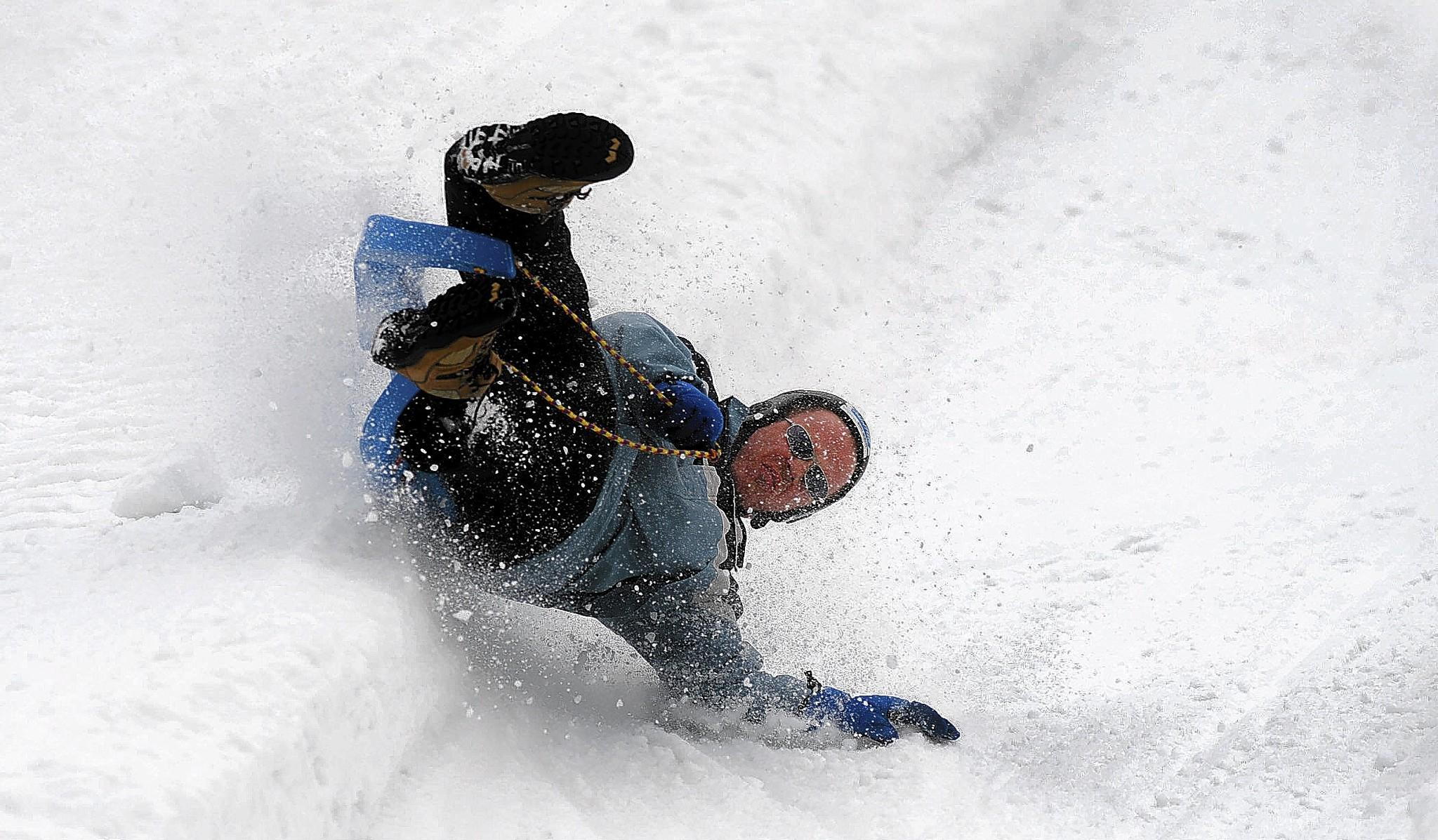 Robert Richardson of Nazareth hits a bank during the USA Luge Challenge at Blue Mountain Resort during their annual Winter Festival last year.