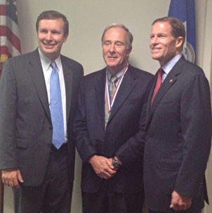 Canton Middle School Principal Joseph Scheideler, center, with U.S. Sen. Chris Murphy and U.S. Sen. Richard Blumenthal at a reception held last year honoring him as the state's middle school principal of the year.