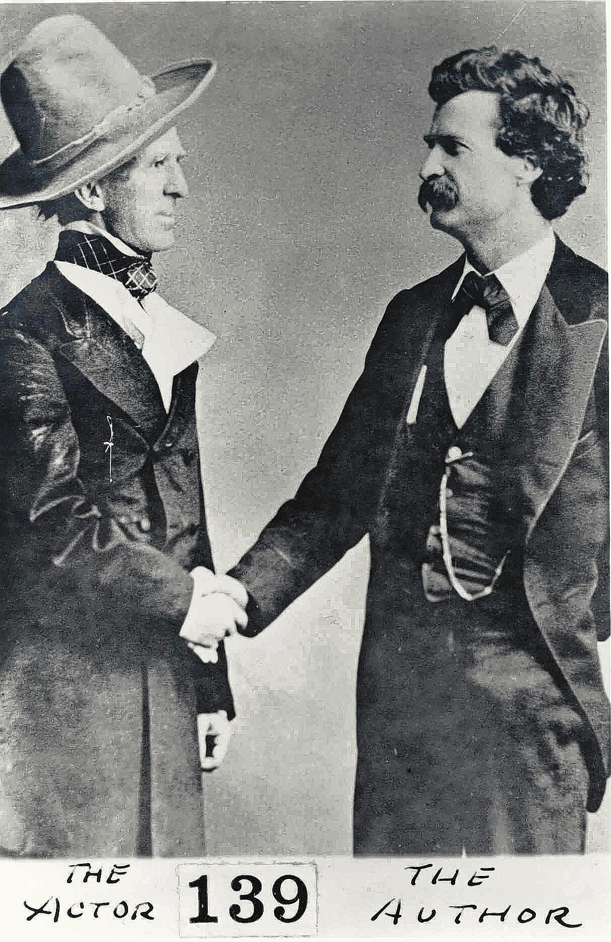 "Mark Twain, right, and actor John Raymond who portrayed the lead character in ""Colonel Sellers,"" a play Twain based on the novel ""The Gilded Age: A Tale of Today."""