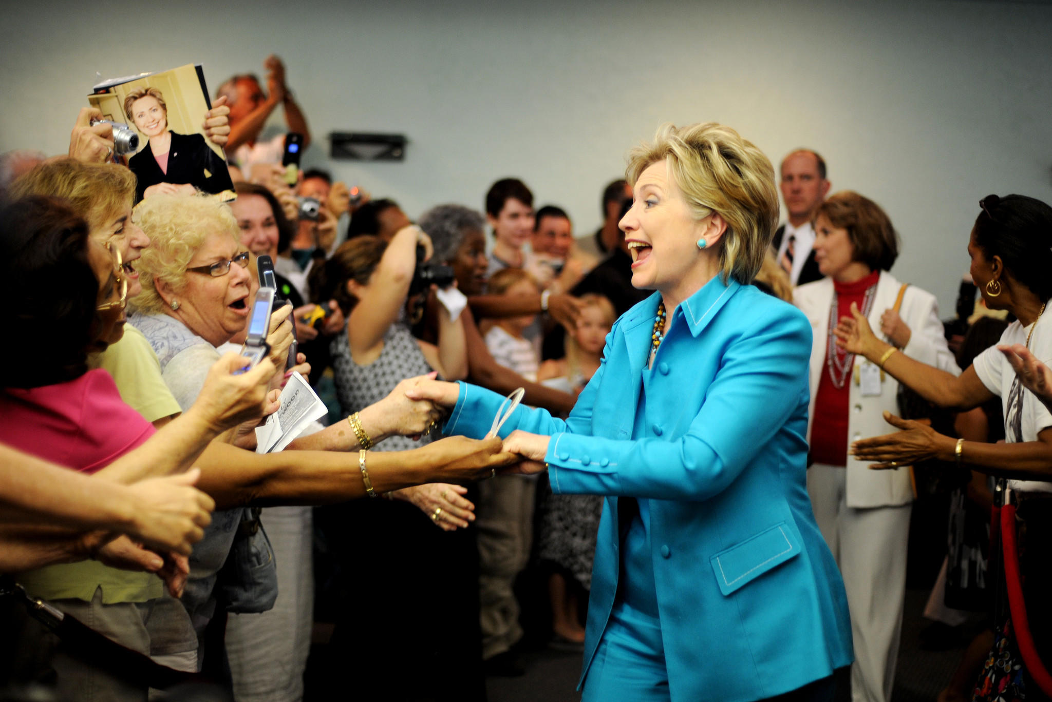 Then-Democratic presidential hopeful Sen. Hillary Clinton greets supporters at Sunrise Lakes Clubhouse in Sunrise, FL on Wednesday May 21, 2008. (Staff photo Carey Wagner/ South Florida Sun-Sentinel)