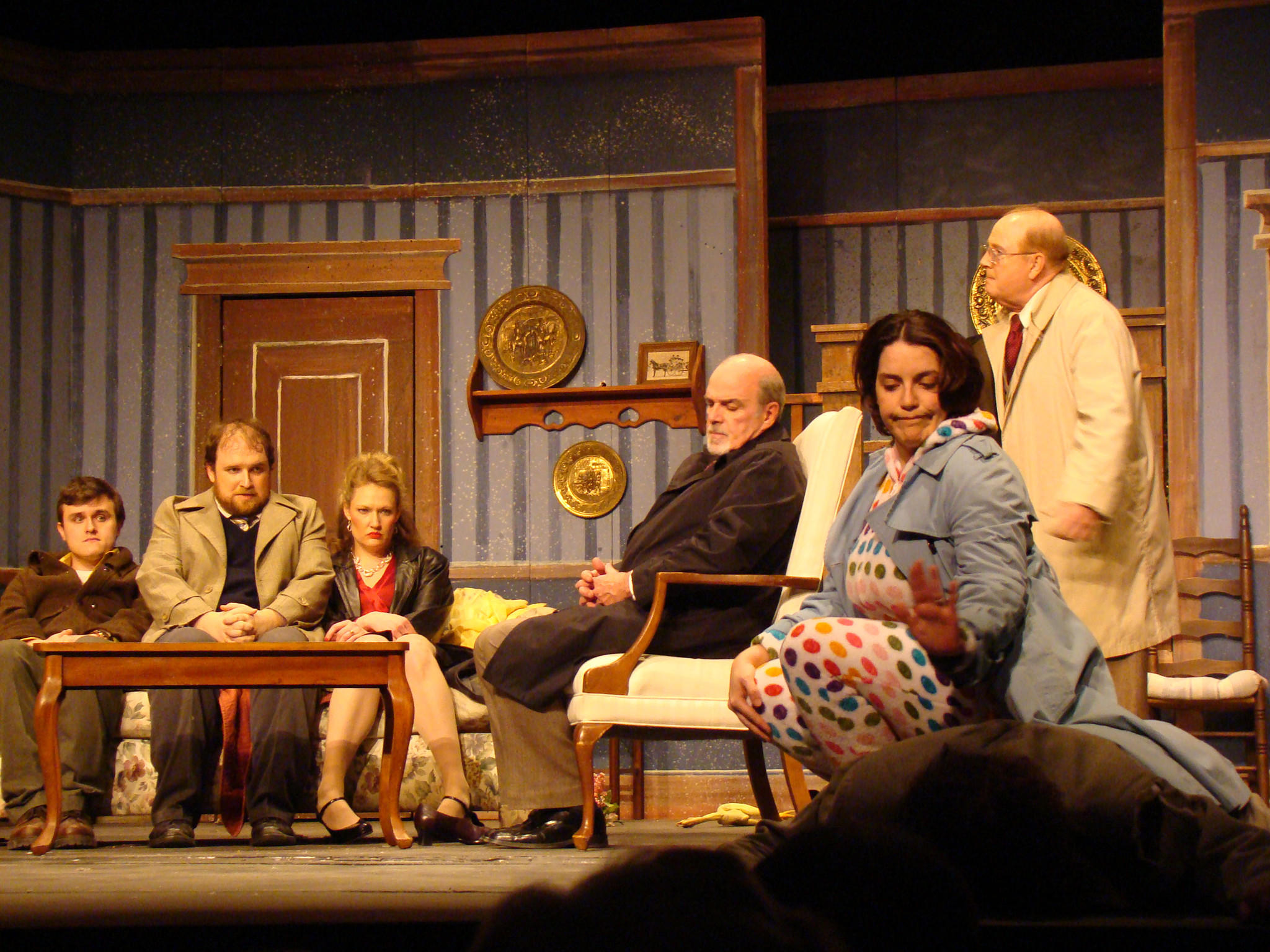 From left, Zak Zeeks as Bill the Taxi Driver, John Wakefield as Vic Johnson, Samantha Feikema as Betty Johnson, Michael Dunlop as Detective Davenport, Mary Wakefield as Jean Perkins, and far right Gene Valendo as Henry Perkins in Funny Money, now playing at the Bowie Playhouse. Photo by Bud Johnson for The Baltimore Sun
