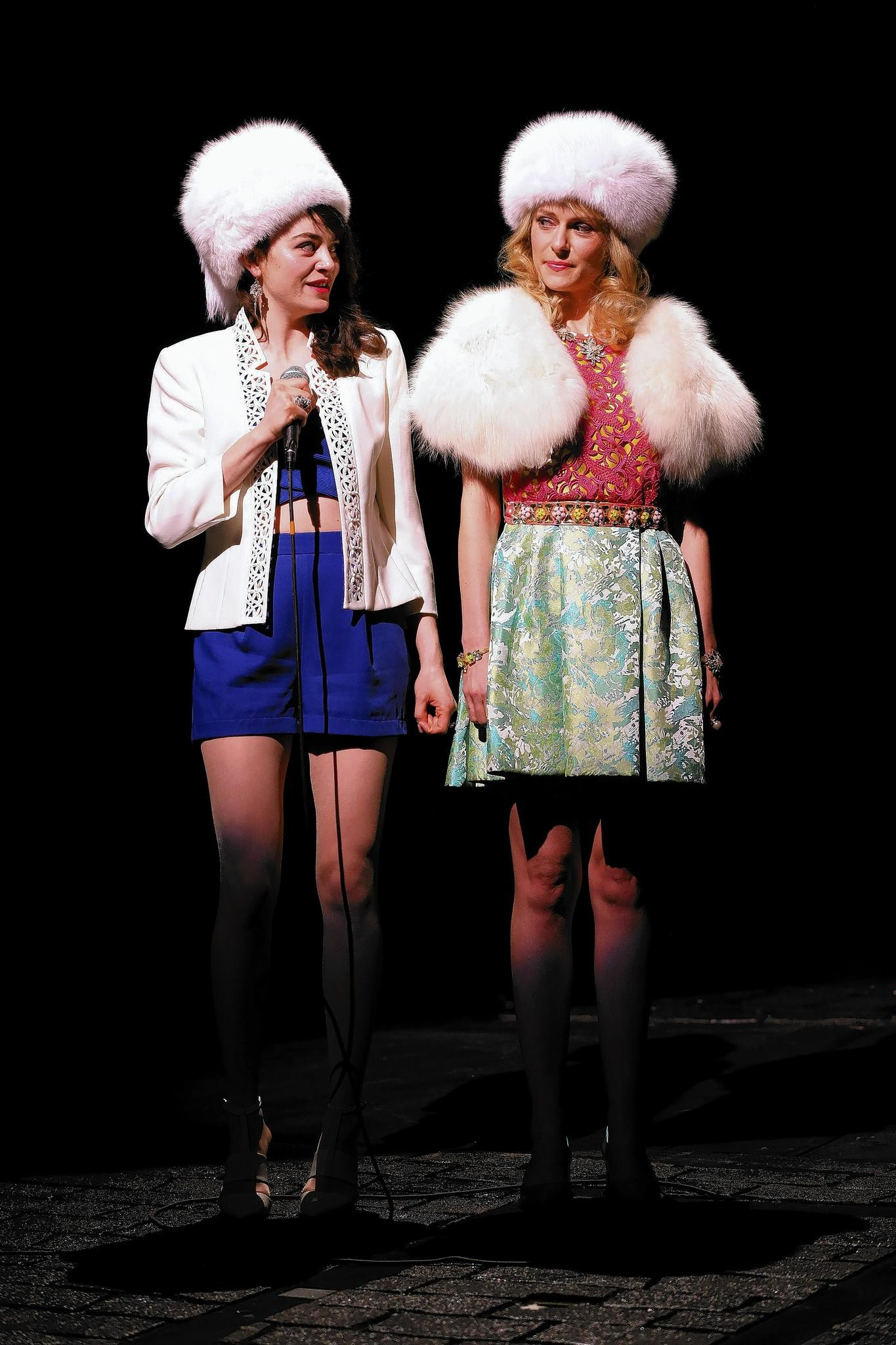 """Celeste Arias and Stephanie Hayes plays several of the title characters of the new play, """"Fairytale Lives of Russian Girls"""" at Yale Repertory Theatre in New Haven."""