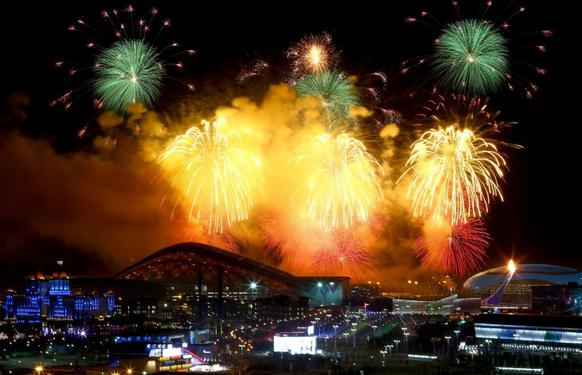 A fireworks show ended the 2014 opening ceremony of the Olympics with a bang.