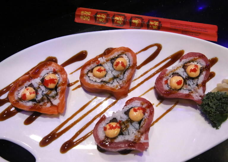Heart-shaped sushi at Orlando's Bento Cafe is a Valentine's Day special.