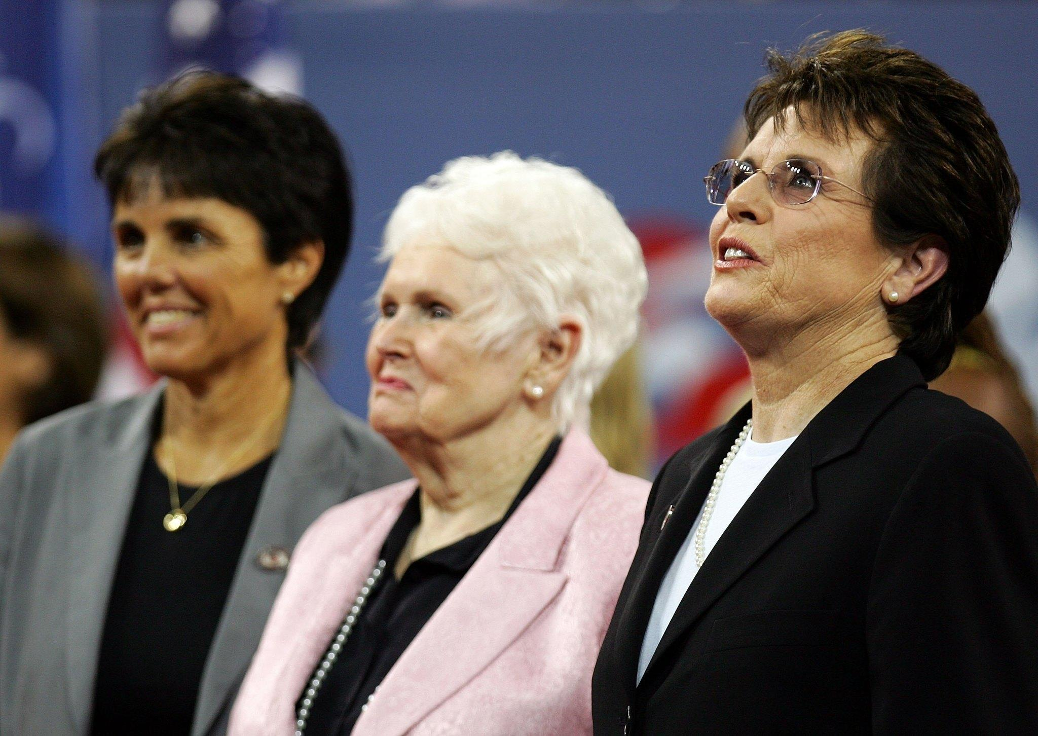 (R-L) Tennis legend Billie Jean King and her mother Betty Moffitt attend the opening ceremony during the day of the US Open at the USTA Billie Jean King National Tennis Center in Flushing Meadows Corona Park.