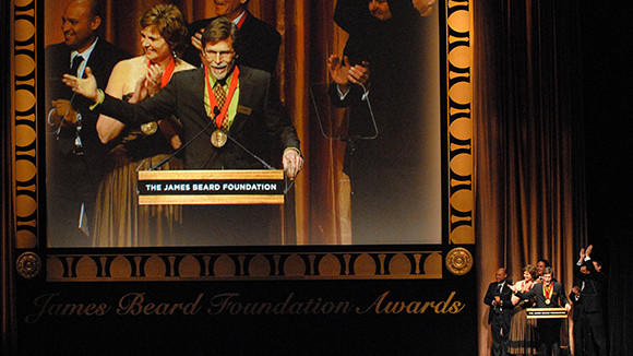 Chicago chef Rick Bayless accepts a James Beard award in 2007.