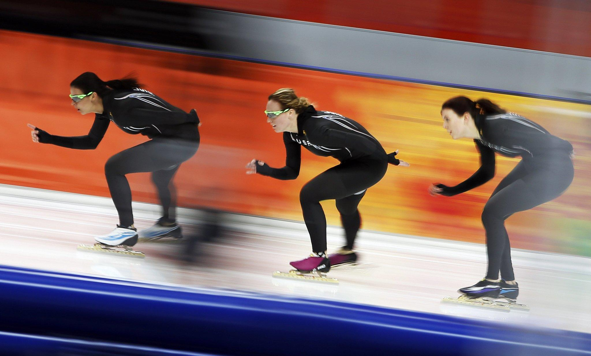 Members of the U.S. speedskating team practice at the Adler Arena ahead of the 2014 Sochi Winter Olympics, February 7, 2014.